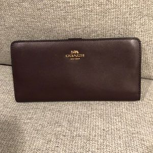 Burgundy smooth leather Coach wallet